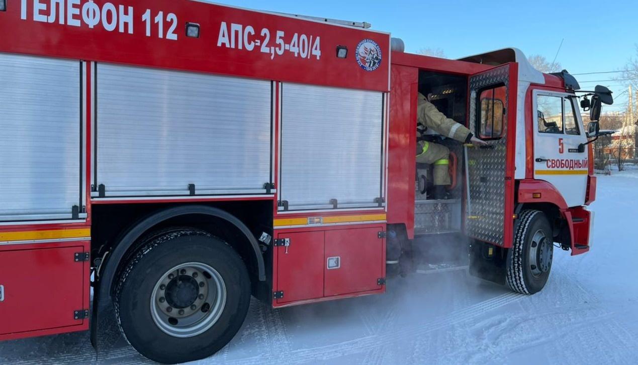 Пожарные Свободненского пожарно-спасательного гарнизона тушили баню